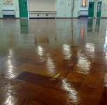 Polished and refurbished parquet flooring